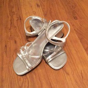 Silver rhinestoned heels